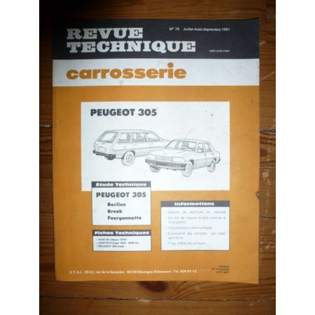 305 Revue Technique Carrosserie Peugeot