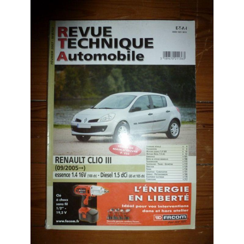 renault clio iii depuis 09 2005 essence 1 4 16v 100cv diesel 1 5 dci 85 et 105cv. Black Bedroom Furniture Sets. Home Design Ideas