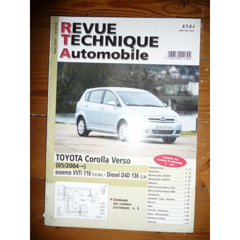rta revue technique toyota corolla verso essence vvt i 110cv 16v et diesel d4 d 136cv. Black Bedroom Furniture Sets. Home Design Ideas