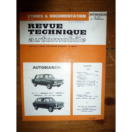 RRTA0295 Revues techniques AUTOBIANCHI A111 - PRIMULA 65 C - COUPE S