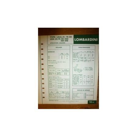 LDAL-LDA 75-80-450-451-510 Fiche Technique Lombardini