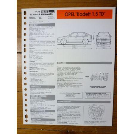 Kadett 1.5 TD Fiche Technique Opel