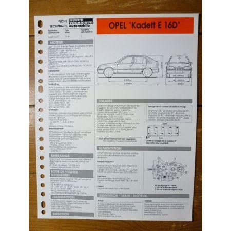Kadett E 1.6 D Fiche Technique Opel