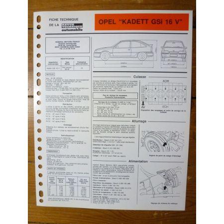 Kadett GSi 16V Fiche Technique Opel