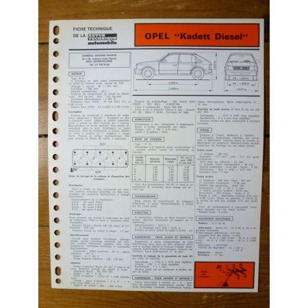 Kadett Diesel Fiche Technique Opel