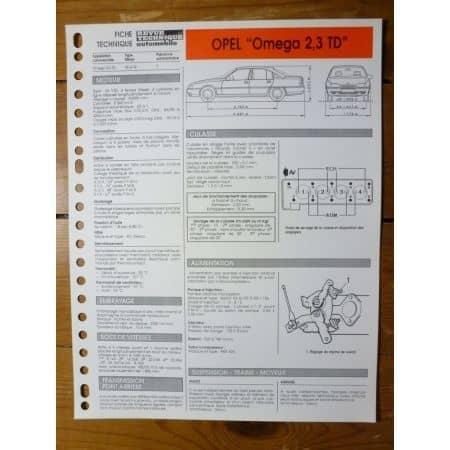 Omega 2.3TD Fiche Technique Opel