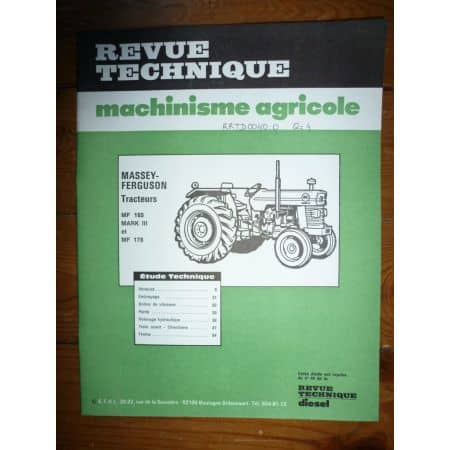MF165 MF176 Revue Technique Agricole Massey Ferguson