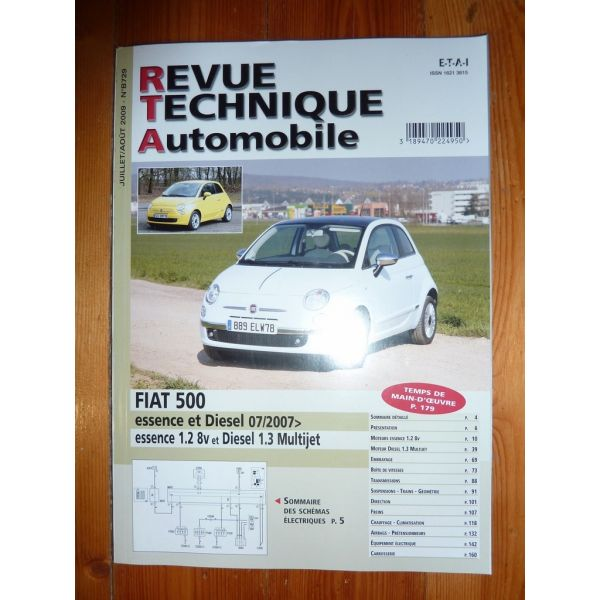 fiat 500 depuis 07 2007 essence 1 2 8v et diesel 1 3 multijet. Black Bedroom Furniture Sets. Home Design Ideas