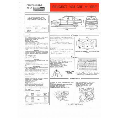 405 GRI SRI Fiche Technique Peugeot