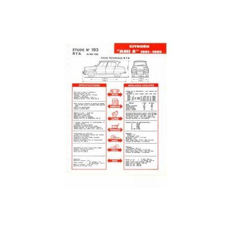 AMI 6 61-63 Fiche Technique Citroen