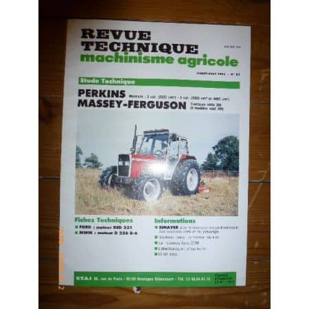 Série 300 350 355 360 362 365 375 390 390T 398 Revue Technique Agricole MF