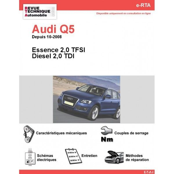 audi q5 essence 2 0 tfsi diesel 2 0 tdi depuis 10 2008. Black Bedroom Furniture Sets. Home Design Ideas