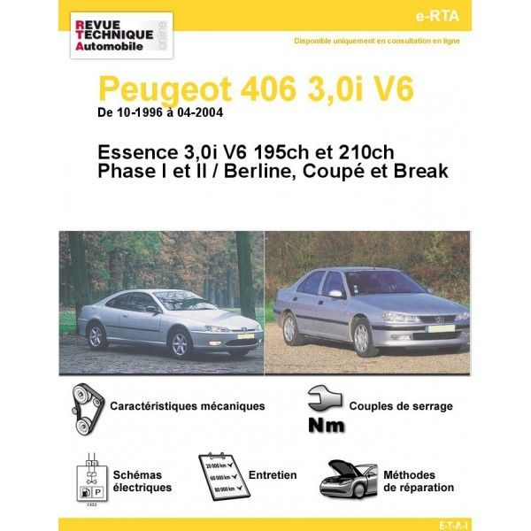 peugeot 406 v6 phases 1 2 berline coup break de 10 1996 a 04 2004. Black Bedroom Furniture Sets. Home Design Ideas
