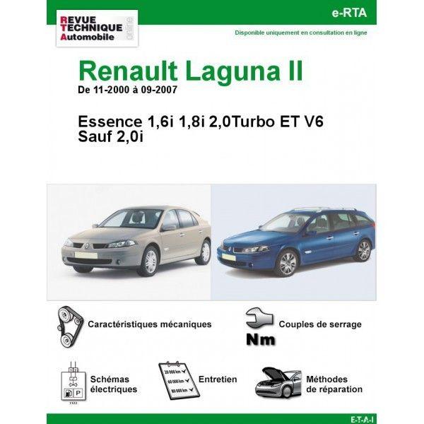 renault laguna ii essence 2 0 turbo et v6 sauf de 11 2000 a 09 2007. Black Bedroom Furniture Sets. Home Design Ideas