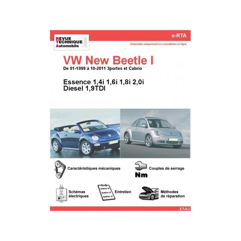 volkswagen vw new beetle i essence diesel 1 9 tdi de 01 1999 a 10 2011. Black Bedroom Furniture Sets. Home Design Ideas