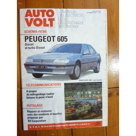 605 D,TD Revue Technique Electronic Auto Volt  Peugeot