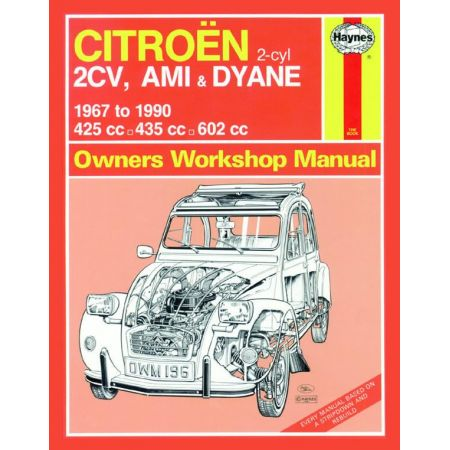2CV Ami Dyane up to H 67-90 Revue technique Haynes CITROEN Anglais