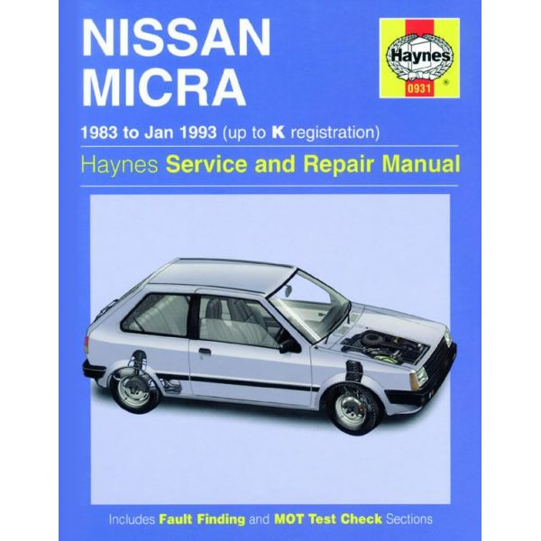 nissan micra up to k 1983 1993 rth00931 revue technique haynes anglais. Black Bedroom Furniture Sets. Home Design Ideas