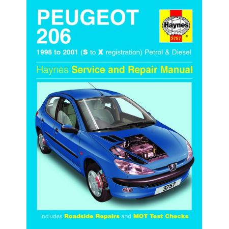 206 Petrol Diesel S to X 98-01 Revue technique Haynes PEUGEOT Anglais