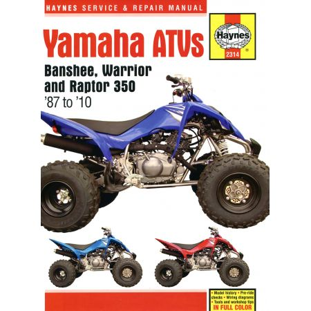 Banshee Warrior Raptor ATVs 87-10 Revue technique Haynes YAMAHA Anglais