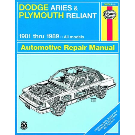 Aries Reliant 81-89 Revue technique Haynes DODGE PLYMOUTH Anglais