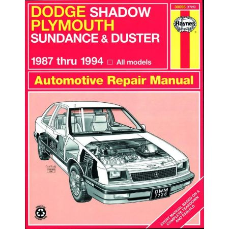 Shadow Sundance 87-94 Revue technique Haynes DODGE Anglais