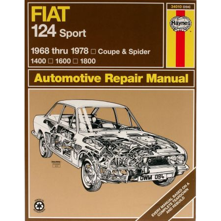 124 Sport Coupe Spider 68-78 Revue technique Haynes FIAT Anglais
