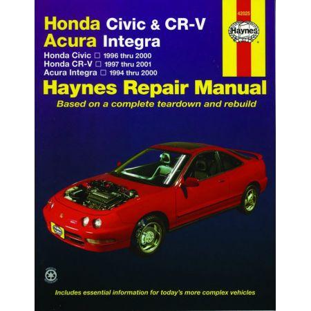 Civic 96-00 CR-V Integra Revue technique Haynes HONDA Anglais