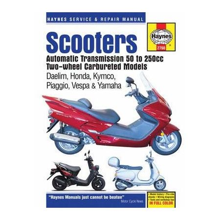 Twist and Go automatic transmission Scooters 50cc to 250cc engines Two-wheel Carbureted Repair Manual Haynes Anglais