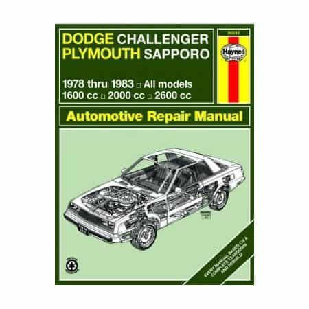 Dodge Challenger Plymouth Sapporo Repair Manual for 78 thru 83 Revue technique Haynes Anglais