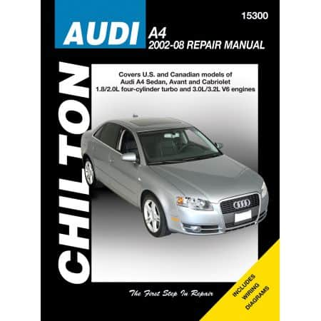Audi A4 Chilton Repair Manual covering all US and Canadian models of Audi A4 Sedan Avant and Cabriolet for 02-