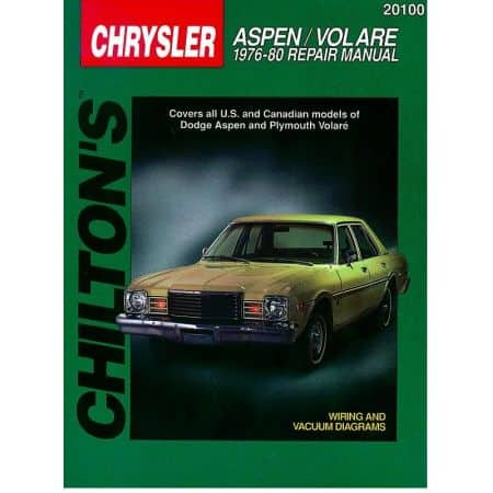 Chrysler Aspen Volare Chilton Repair Manual for 76-80 Revue technique Haynes Anglais