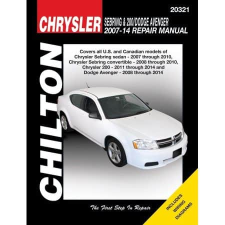 Chrysler Sebring 200 Dodge Avenger Chilton Repair Manual for 07-14 Revue technique Haynes Anglais