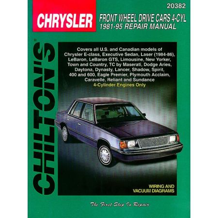 Chrysler Front Wheel Drive Cars 4-Cyl Engine only Chilton Repair Manual for 81-95 including coverage of 4-Cyli