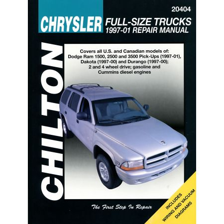 Chrysler Full-Size Trucks Chilton Repair Manual for 97-01 covering all models of Dodge Ram 1500 2500 and 3500