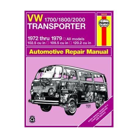 1700/1800/2000 Transporter 72-79 Revue technique Haynes VW Anglais