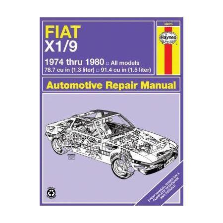 X1/9 74-80 Revue technique Haynes FIAT Anglais