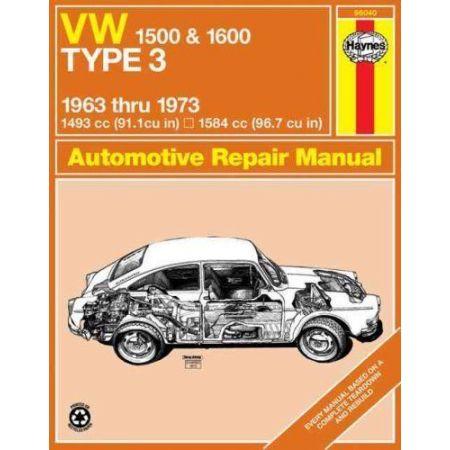 1500 & 1600 Type 3 63-73 Revue technique Haynes VW Anglais