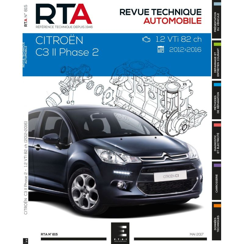 citroen c3 ii phase 2 2013 2016 82cv rta0815 juin. Black Bedroom Furniture Sets. Home Design Ideas