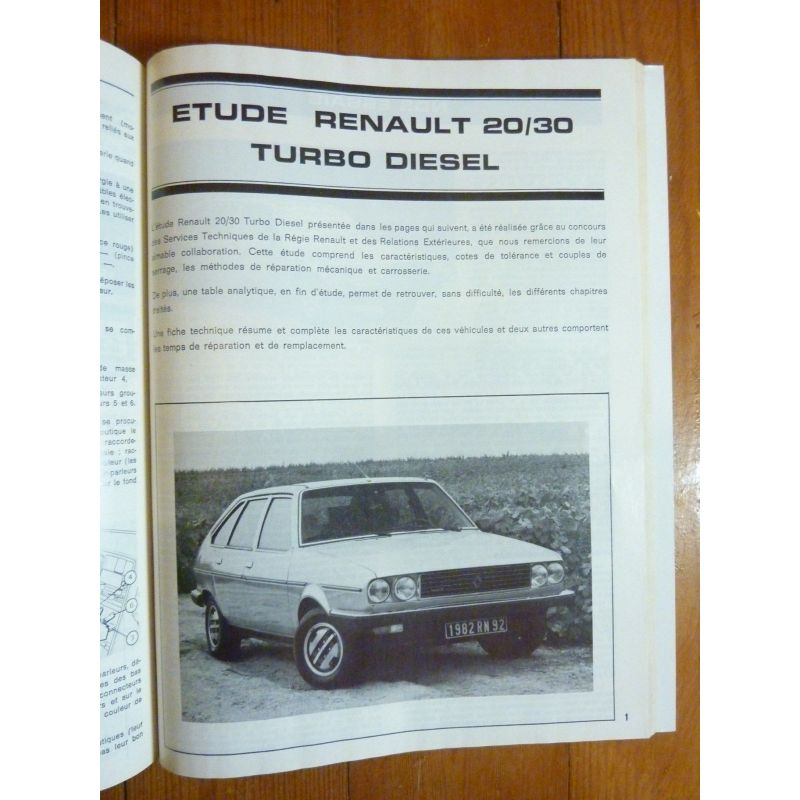 Renault R20 R30 Turbo Diesel Rlea197 Revue Technique