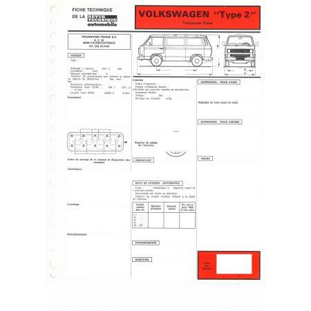 Transporter D Type 2 Fiche Technique Volkswagen