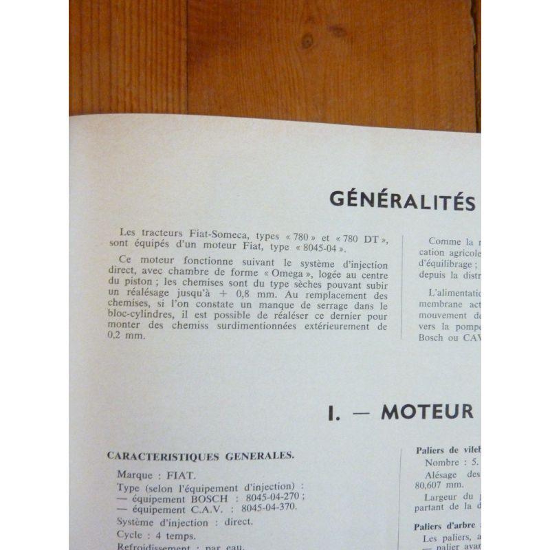 Manuels, Revues, Catalogues 2 Et 4 Roues Dt Revue Technique Tracteur Fiat Someca 780 Moteur 8045-04
