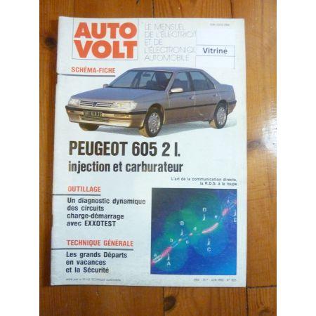 605 2L Revue Technique Electronic Auto Volt Peugeot