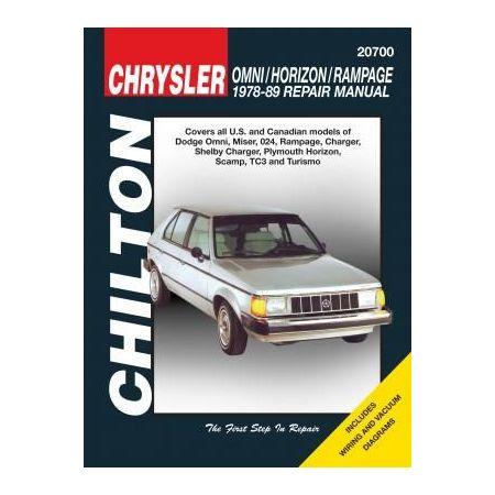 Omni, Horizon & Rampage 78-89 Revue technique Chilton DODGE Anglais