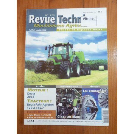 Agrotron 120 à 165.7 Revue Technique Agricole Deutz Fahr