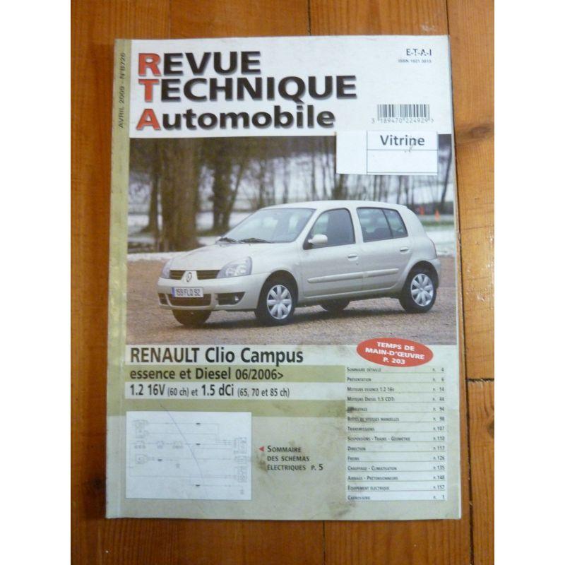 rta revues technique automobile renault clio campus depuis 06 2006 essence 16v 60cv diesel. Black Bedroom Furniture Sets. Home Design Ideas