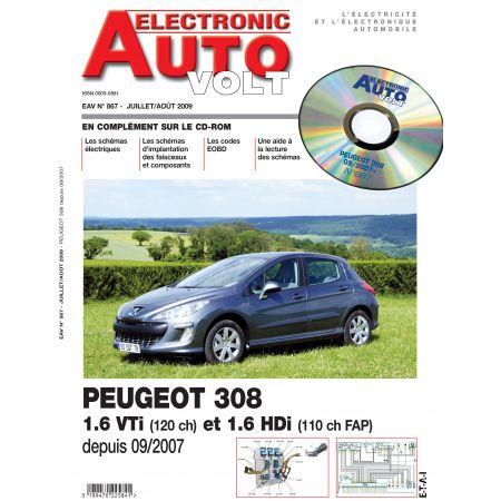 308+SW 09/2007- ESS 1.6 + 1.6 HDI Revue Technique Electronic Auto Volt PEUGEOT
