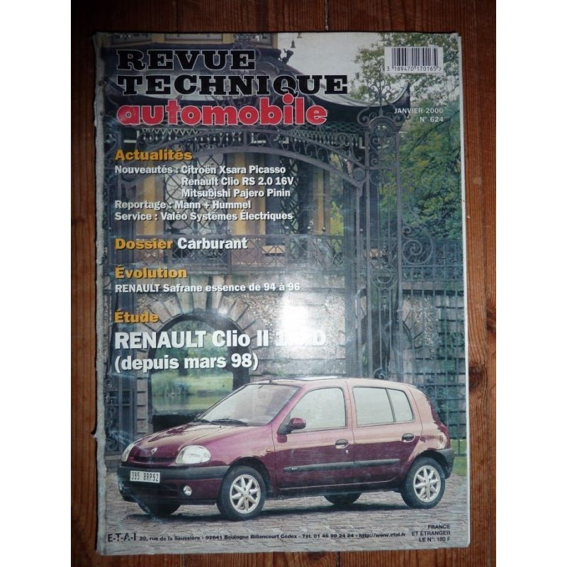 rta revue technique renault clio ii diesel depuis mars 1998. Black Bedroom Furniture Sets. Home Design Ideas