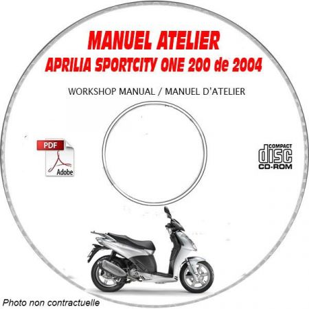 SPORT CITY ONE 200 04 - Manuel Atelier CDROM APRILIA Anglais Revue technique