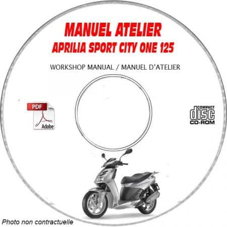 SPORT CITY ONE 125 08 - Manuel Atelier CDROM APRILIA Anglais Revue technique